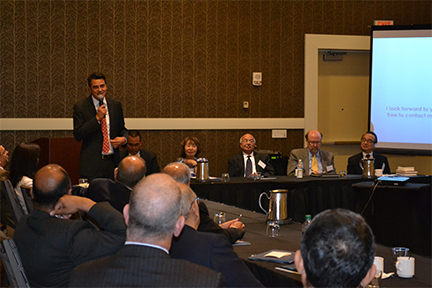 US Congressman Hon. Kevin Yoder addresses attendees at the AACR conference held on May 8, 2015